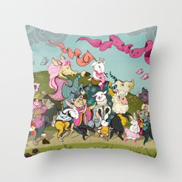 Cute animals parade, inspired by Orwell's Animal Farm but sweet Throw Pillow