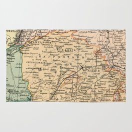 Vintage and Retro Map of India Rug