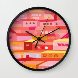 Houses Pattern Wall Clock