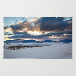 One More Moment - Sunbeams Burst From Clouds Over White Sands New Mexico Rug
