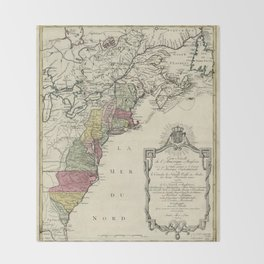 Colonial America Map by Matthaus Lotter (1776) Throw Blanket