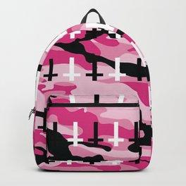 Pink Camo Upside Down Cross Pattern Backpack