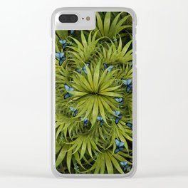 """El Bosco fantasy, tropical island blue butterflies"" Clear iPhone Case"
