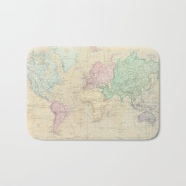 Vintage Map of The World (1862) Bath Mat