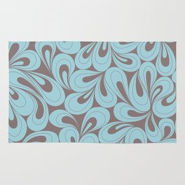 Teal and coffee hand drawn elegant surface pattern Rug