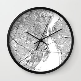 Montreal White Map Wall Clock