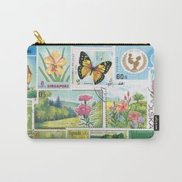 Whimsical Landscape - postage stamp art, butterflies & flowers Carry-All Pouch