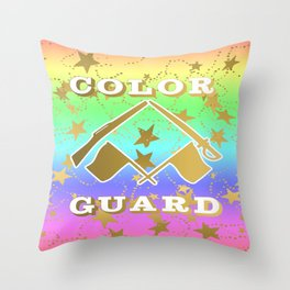 Color Guard Rainbow and Gold Stars Design Throw Pillow
