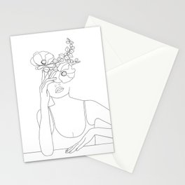 Minimal Line Art Woman with Flowers II Stationery Cards