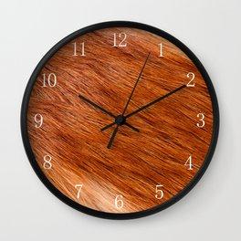 Red fox hairy fur texture cloth Wall Clock