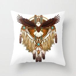 Bald Eagle Mandala Throw Pillow