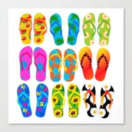 Sandals Colorful Fun Beach Theme Summer Canvas Print