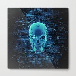 Gamer Skull BLUE TECH / 3D render of cyborg head Metal Print