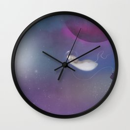 Marty Mouse in Space, a whimsical and colourful space adventure Wall Clock