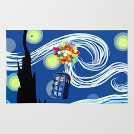 Tardis Balloons Starry Night Rug