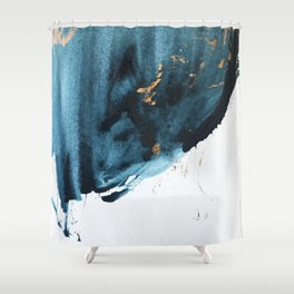 Sapphire And Gold Abstract Shower Curtain