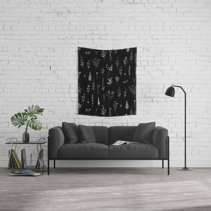 Black wildflowers Wall Tapestry