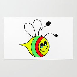 Drawn by hand a colorfull bee for children and adults Rug