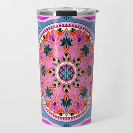 Boho Floral Crest Pink and Red Travel Mug
