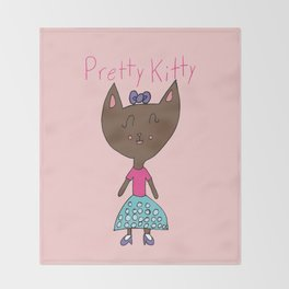 PRETTY KITTY Throw Blanket