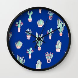 Little cactus pattern - Princess Blue Wall Clock