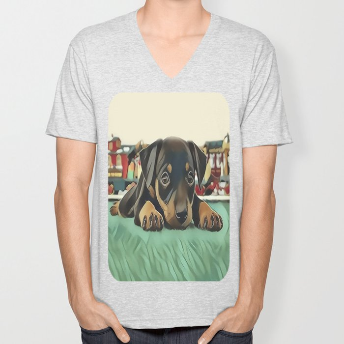 Doberman Puppy Protecting the 027 Railroad Unisex V-Neck