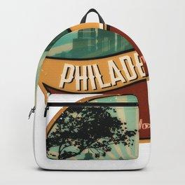 Philadelphia City Skyline Pennsylvania Retro Vintage Design Backpack