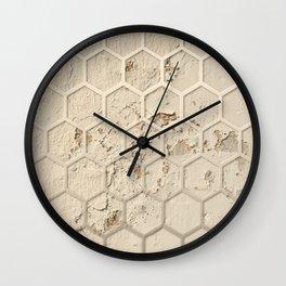 Hexagon on Beige Grunge Wall Wall Clock