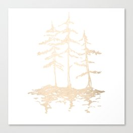 Three Sisters Forest White Gold Trees Canvas Print