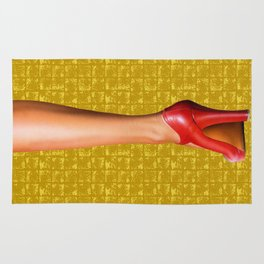 A woman's leg with a red high-heeled shoe on Gold-leaf Screen Rug