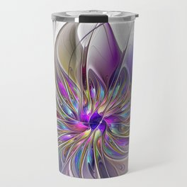 Energetic, Abstract And Colorful Fractal Art Flower Travel Mug