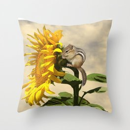 Waiting for the Sunflower Throw Pillow