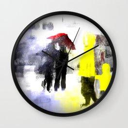 Two Yellow Raincoats Wall Clock