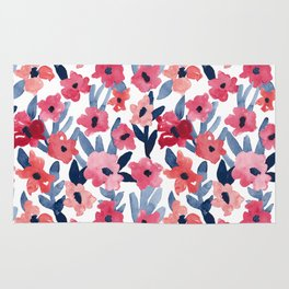 Layered Watercolor Floral Pink and Navy Rug