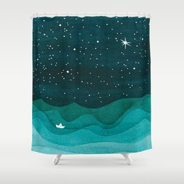 Starry Ocean Teal Sailboat Watercolor Sea Waves Night Shower Curtain