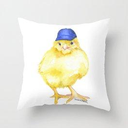 Baseball Chick Watercolor Throw Pillow