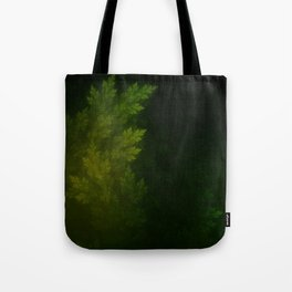 Beautiful Fractal Pines in the Misty Spring Night Tote Bag
