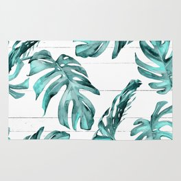 Turquoise Palm Leaves on White Wood Rug