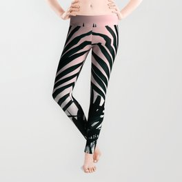Tropical Green palm tree leaf blush pink gradient photography Leggings