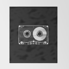 Black and White Retro 80's Cassette Vintage Eighties Technology Art Print Wall Decor from 1980's Throw Blanket
