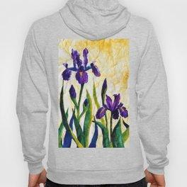 Watercolor Wild Iris on Wrinkled Paper Hoody
