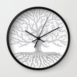 Pixel Art - Cross Stitch Chart - Grey Tree of Life - Wall Clock