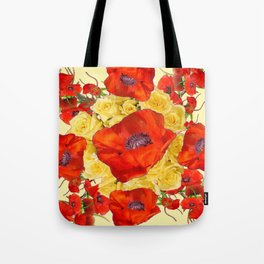 ORANGE POPPY FLOWERS GARDEN YELLOW ROSES ART Tote Bag