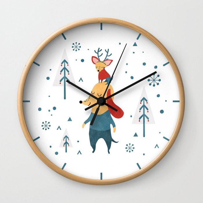Merry Christmas card Wall Clock