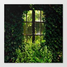Green idyllic overgrown cottage garden window Canvas Print