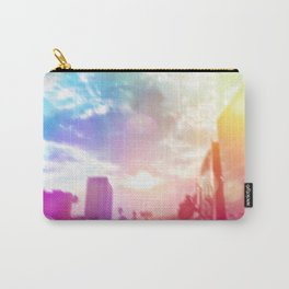 blue cloudy sky on the road with colorful bokeh light abstract Carry-All Pouch