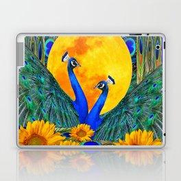 BLUE PEACOCKS MOON & FLOWERS FANTASY ART Laptop & iPad Skin