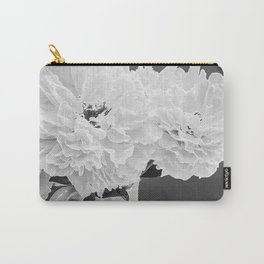 Peony Drama ~ B&W Accented Edges Carry-All Pouch