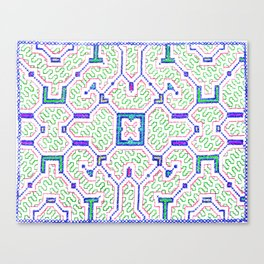 The Song to Support Spiritual Growth - Traditional Shipibo Art - Indigenous Ayahuasca Patterns Canvas Print