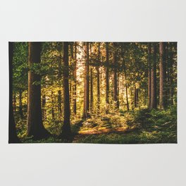 Woods  - Forest, green trees outdoors photography Rug